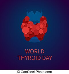 World thyroid day poster with thyroid gland icon