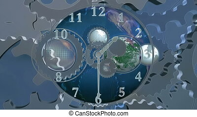 World time blue Earth and gears looping clock animated CG background