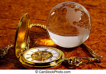 World Time - Glass Globe and Pocket Watch