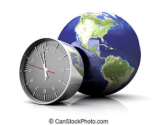 World Time - World time. 3D rendered Illustration. Isolated ...
