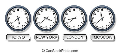 World time zone clocks with a Tokyo New York London and Moscow clock representing international business and the different times from around the world for travel and finances.