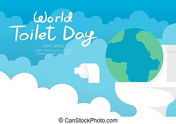 World toilet day 19 November horizon Banner set, Sanitary problem concept earth with flush toilet illustration on sky and cloud background with copy space, vector eps 10