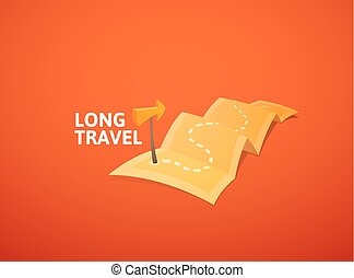 World tour concept logo, long route in travel map with guide marker