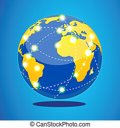 world tour - illustration of world tour with globe on...