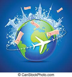 World Tour - illustration of world famous monuments around ...