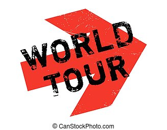 World Tour rubber stamp. Grunge design with dust scratches....