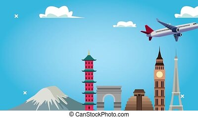 world tourism animation with airplane flying and monuments ,...