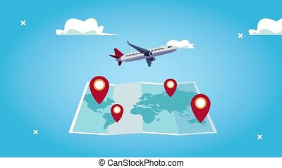 world tourism animation with airplane flying in paper map ...