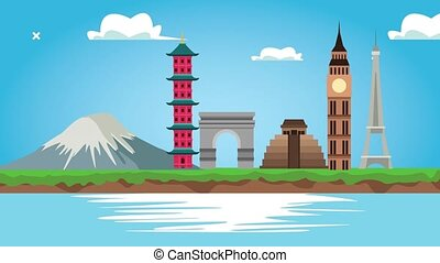world tourism animation with monuments and lake scene ,4k ...