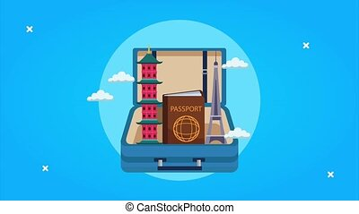 world tourism animation with monuments and passport in ...