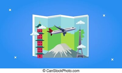 world tourism animation with paper map and airplane flying ...
