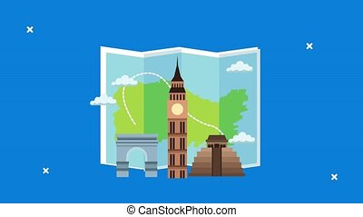 world tourism animation with paper map and monuments ,4k ...