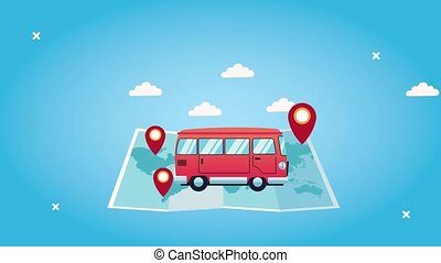 world tourism animation with van in paper map and pins ...