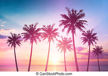 World Tourism Day concept: Silhouettes of coconut trees against the setting sun