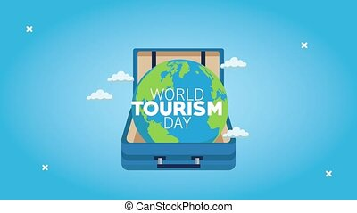 world tourism day lettering with suitcase and earth planet ,4k video animated