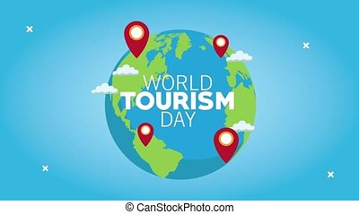 world tourism day lettering with world planet and pins ...