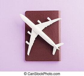minimal toy model plane, airplane on passport