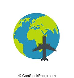 World tourism icon, flat style.