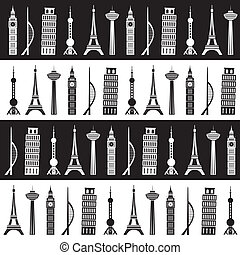 world towers seamless pattern
