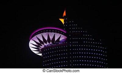 World trade center in Doha illuminated at night. Qatar, Middle East
