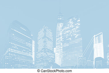 World Trade Center in New York - Light blue image of World...