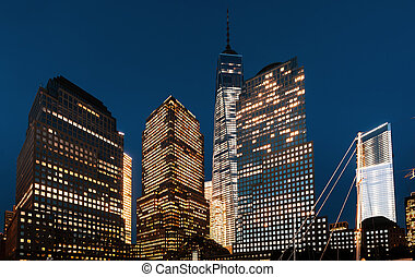 World Trade Center in New York - World Trade Center at night...