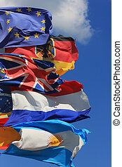 world trade - The national flags of France, UK and Germany...