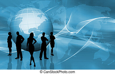 Silhouettes of a business team on abstract globe background