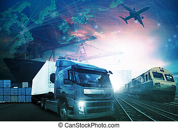 world trading with industries truck, trains, ship and air cargo freight logistic background use for all import export transportation theme