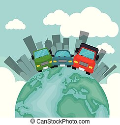 world transport card collection city vector illustration eps...