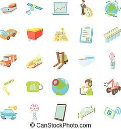 World transport network icons set, cartoon style
