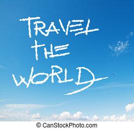 "world"", ""travel, écrit, ciel"