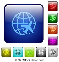 World travel color square buttons