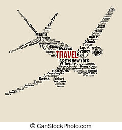 World travel concept made with words on airplane