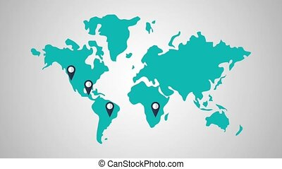 World travel destinations HD definition - Pin locations on...
