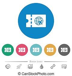 World travel discount coupon flat round icons - World travel...