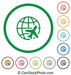 World travel flat icons with outlines