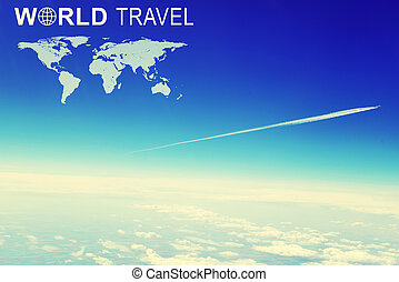 Distant jet airliner with vapour trail against sky and clouds, aerial view. Inscription World Travel, related symbol and contoured map of world continents