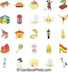 World travel icons set, cartoon style