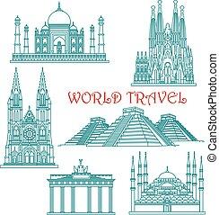 World travel landmarks thin line icons - World travel and...