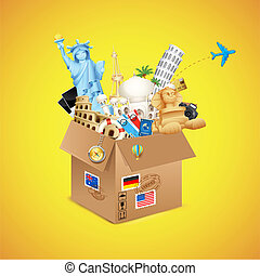 World Travel Package - illustration of package full of...