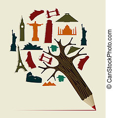 World travel pencil - Pencil tree shaped made with world...