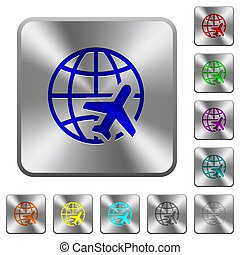 World travel rounded square steel buttons