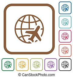 World travel simple icons
