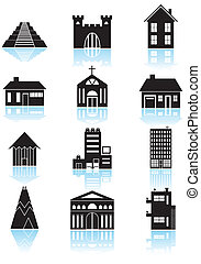 Set of a wide range of generic building styles and architecture in basic black and white.