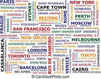 Travel concept made ??with words indicating the known places. Each continent has its own color.