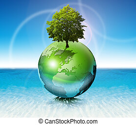 World tree - ecology concept - Terrestrial globe on the...
