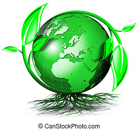 Green terrestrial globe with branches, leaves and roots