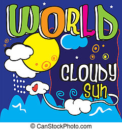 World, typo, whim, innocent, sky, imagination, fantasy, child, childish, tale, mountain, landscape, snow, to snow,
