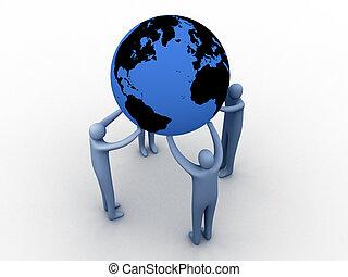 World union. - 3d people holding the globe.